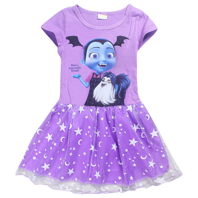 eccc2358053 US $2.93 25% OFF|Summer cartoon baby Dresses for Girls Vampirina Clothing  Kids Princess Birthday Party dress cotton Kids Clothes Dress Vestido-in ...