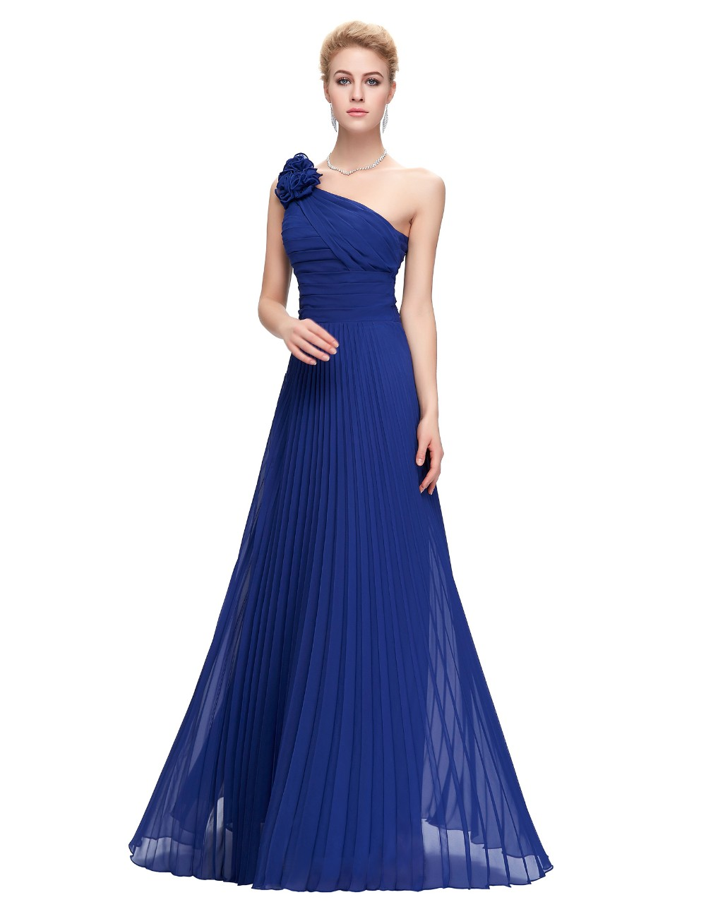 Grace Karin Chiffon Long Evening Dress One Shoulder Pleated Red Green Purple Royal Blue Formal Evening Dress Party Gowns 2018 8