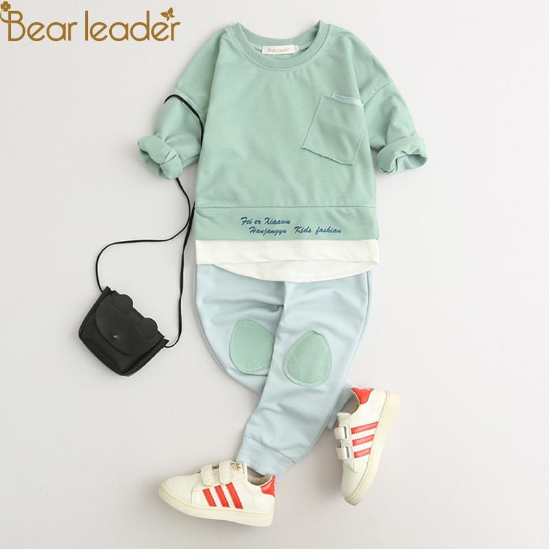 Orso Leader Bambini Set Abbigliamento 2018 Stile di Modo Del Bambino Set Abbigliamento Lungo Rappezzatura Del Manicotto T-shirt + Pants 2 pz Bambini abbigliamento