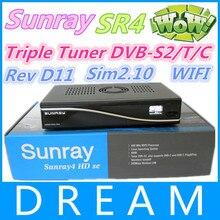 Sunray 800se sr4 Triple Sintonizador sunray4 800hd sim DVB-S2-C-T D11 Rev 2.10 construido en wifi receptor de satélite digital tv