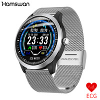 Hamswan N58 Smart Watch ECG+PPG Men IP67 Waterproof Sport Watch Blood Pressure Heart Rate Monitor Support Counting Smartwatch