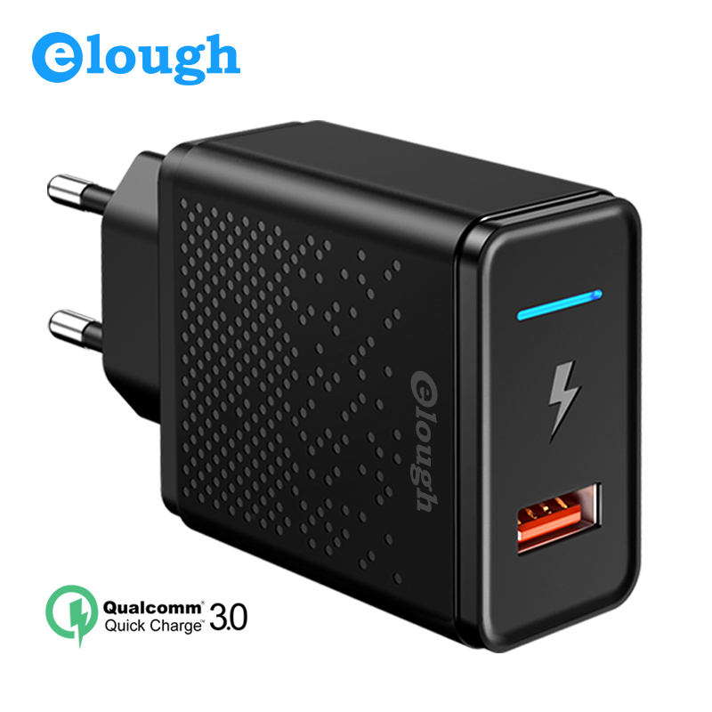 Elough 18W Quick Charge 3.0 4.0 USB Charger for Samsung Xiaomi Huawei iPhone EU Qualcomm Fast Mobile Phone Charger Power Adapter(China)