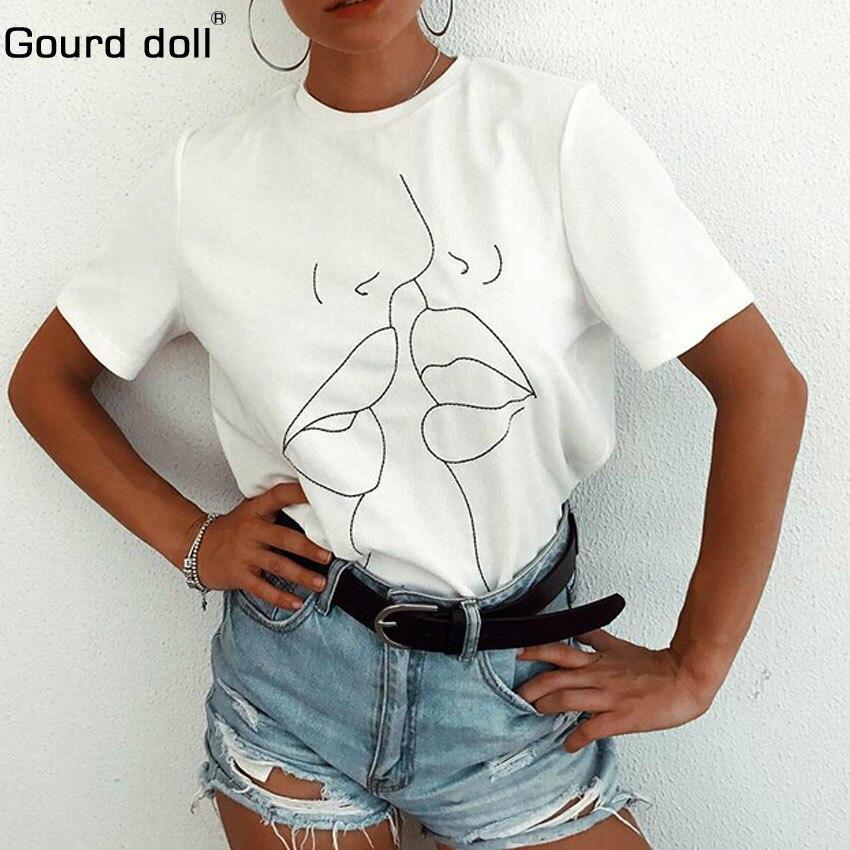2018 Tumblr Lippen T Hemd Frauen Sommer Oansatz Casual Drucken Tops Frauen Baumwolle Kurzarm Lustige T-shirt Weibliche Harajuku T-shirt