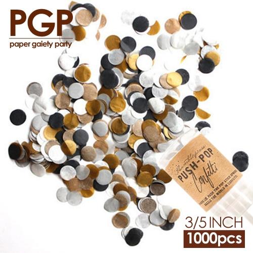 [PGP] Fekete arany ezüstkör szövetpapír konfetti, Push Pop, esküvői elkötelezettséghez Bachelor's New Years Eve Festival Party