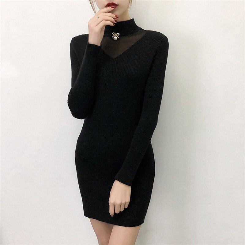 2018 nouveau automne hiver perlé pull femmes fond tricoté pull femme longue maille couture mince sac hanche tricot robe A1501