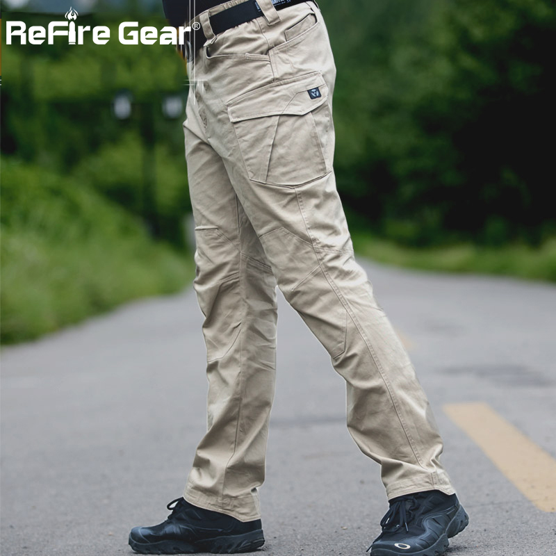 ReFire Gear Military Men Cargo Pants Casual Cotton Trousers