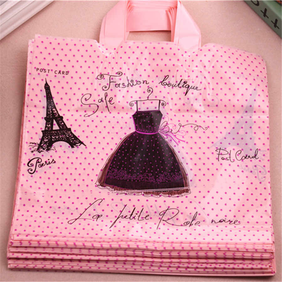 High-density Polythylene Eco-friendly Eiffel Tower Packaging With Handles 10pcs/lot 29*35cm Large Plastic Shopping Bags