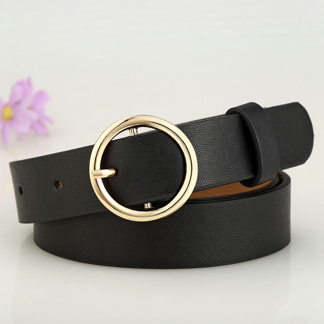 Badinka New Gold Round Metal Circle Belt Female Gold Silver Black White PU Leather Waist Belts for Women Jeans Pants Wholesale 1