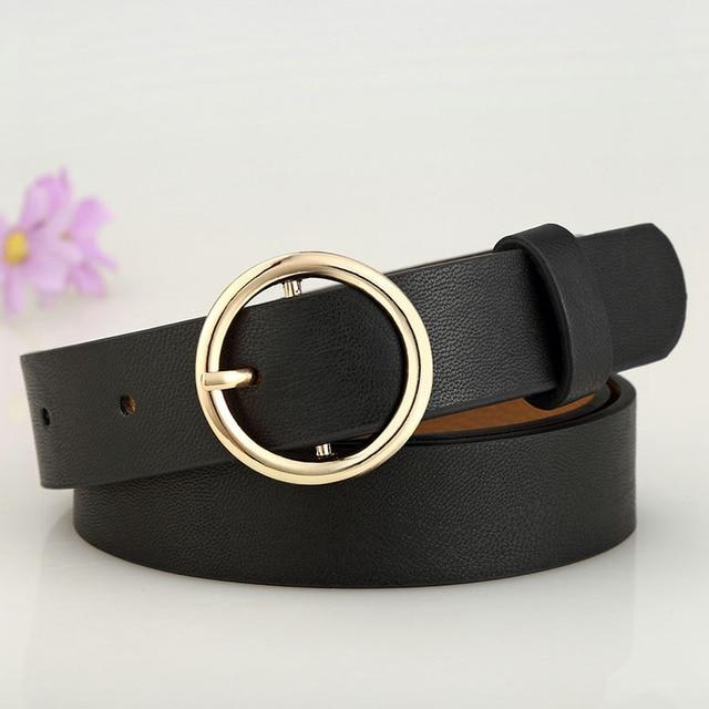 Badinka New Gold Round Metal Circle Belt Female Gold Silver Black White PU Leather Waist Belts