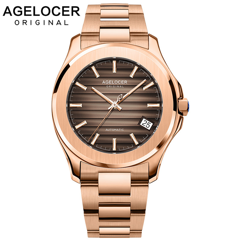 Agelocer 2019 New Collection Luxury Gold Watch Automatic Day Date Watch Super Luminous Steel Watch  Relogio Masculino 6303D9