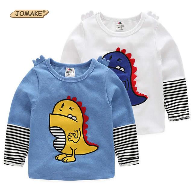 Nueva Primavera Niños de La Raya de La Manga Camisetas Estilo Dinosaur Impresos Niños Pullover Tops Para Niños Moda Niños Ropa de Niños Ropa