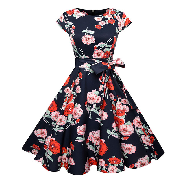 Vintage Women Dress Floral Summer Dress 2018 Elegant Sexy Party Office 50s Retro Rockabilly Plus Size Fall Retro Dress jurken