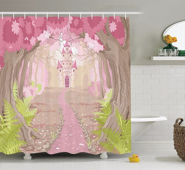 High Quality Arts Shower Curtains Path To The Fairy Tale Princess Castle In Fantasy Bathroom Decorative