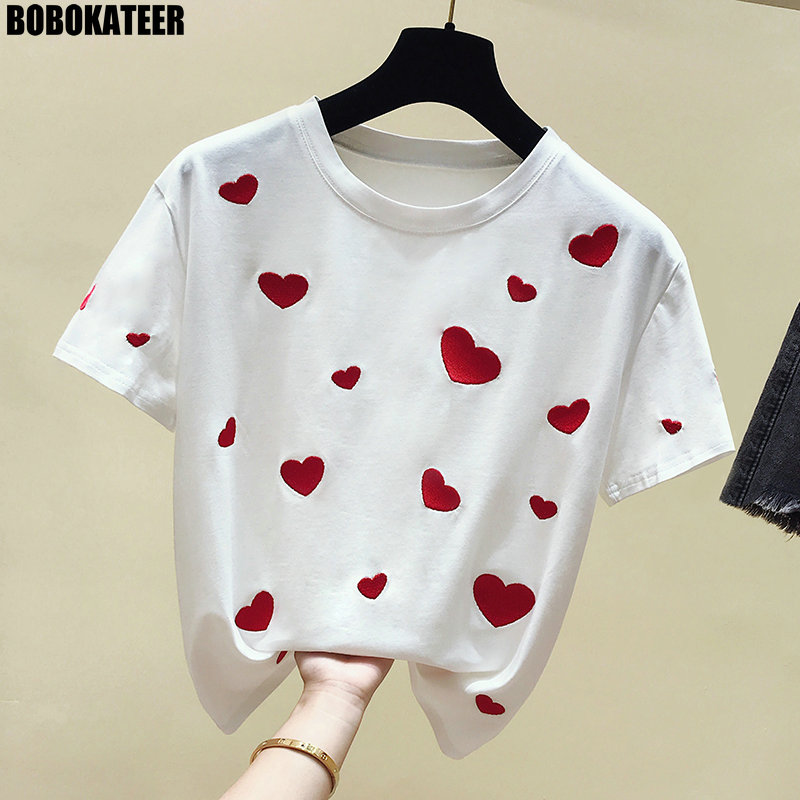 BOBOKATEER Fashion Female T-shirt Embroidery Cotton White T Shirt Women Tops Summer Short Sleeve Black Tee Shirt Femme New 2019