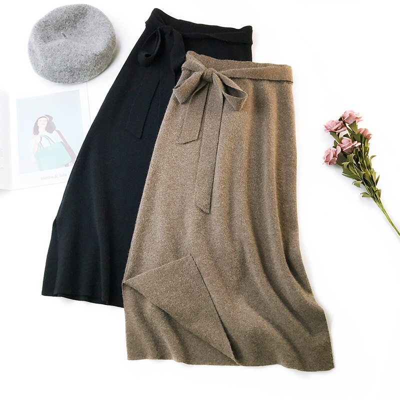 Autumn Winter Women Midi Long Sweater Skirt Elastic High Waist Tie Bow Knitted Skirts Female All Match Split A-Line Skirt AB1271
