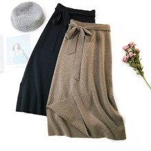 Herbst Winter Frauen Midi Lange Pullover Rock Elastische Hohe Taille Krawatte Bogen Gestrickte Röcke Weiblich Alle Spiel Split A linie Rock AB1271