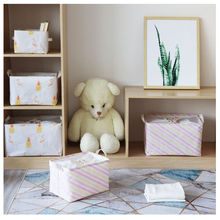 48*33*26CM cotton and linen storage box fabric beam mouth moisture-proof wardrobe clothes storage basket foldable storage box