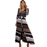 2017 Summer New Bohemian Printing Long Dress Women Maxi Beach Dress Floral Print Retro Hippie Women Clothing Dress