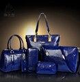 2016 Bolsa Da Forma de Crocodilo Bolsa De Couro PU Mulheres Bolsas Crossbody Bag Bolsa + Messenger Bag + rse + Carteira 6 conjuntos WHC008462