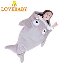 Baby Sleeping Bag Shark Shape Sleeping Bag Cartoon Anti-kick Autumn Winter Summer Newborn Baby Cotton Creative Gift for Stroller high quality pure cotton baby star sleeping bag children five pointed star anti kick winter thicker children sleeping sack