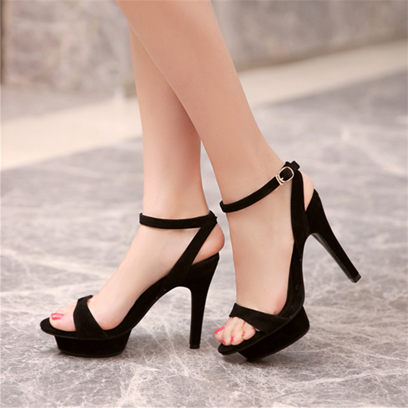 11cm Sexy Extra High Heels Gladiator Summer Shoes Women High Heel Shoes Black Platform For Prom Nightclub Sandals Big Size34-43
