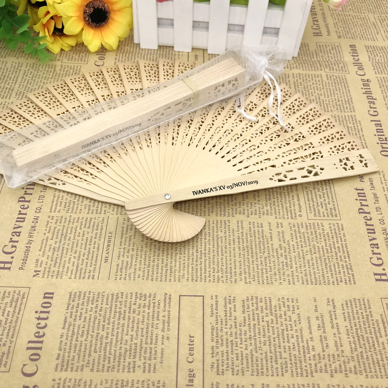 100pcs lot FREE SHIPPING Personalized Wedding Favors Wood Cutout Fans Chinoiserie Hand Folding Fan Printing