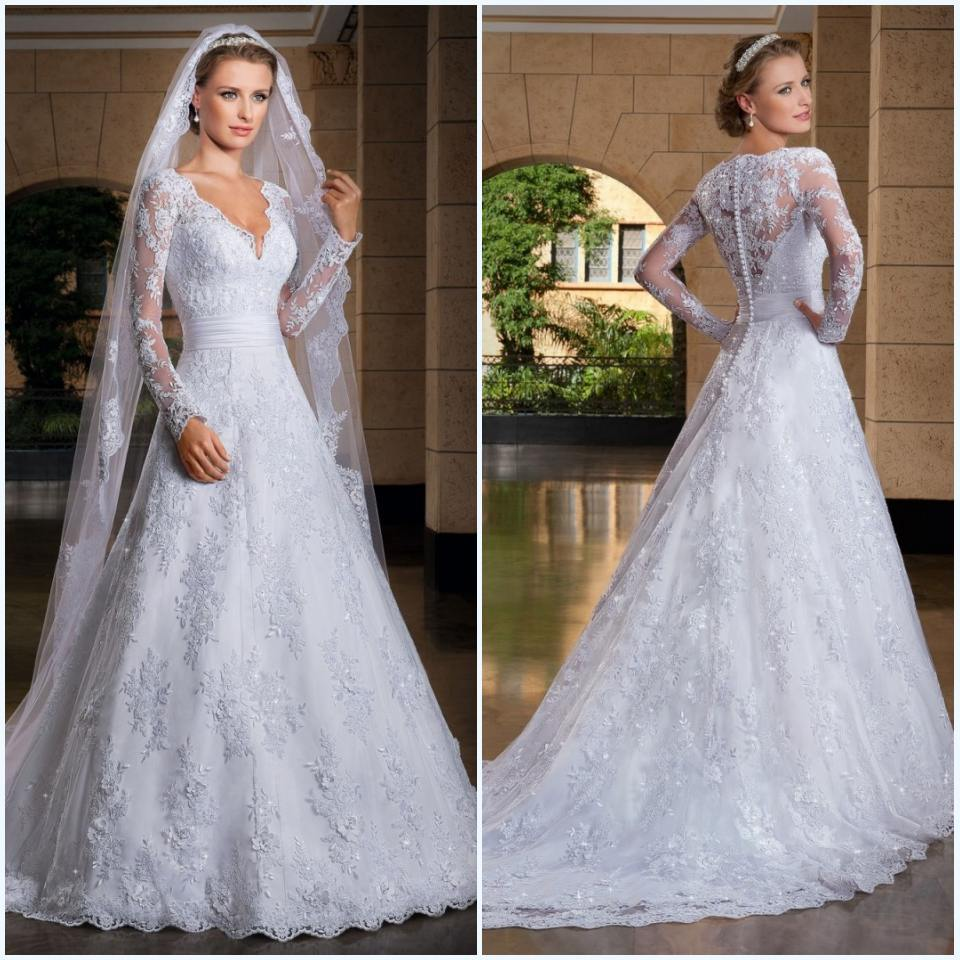 Free Shipping Vestidos De Noiva Renda White V Neck Long Sleeves Lace Wedding Dresses Bridal Gowns On Back Custom Made In From Weddings