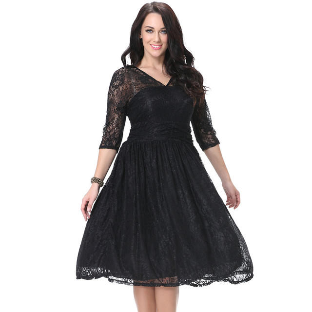 56ae56c2aad XL-7XL Plus Size Lace Dress Women Vintage Floral Lace Party Dress 3 4 Long  Sleeve Boat Neck Cocktail Formal Swing Dress
