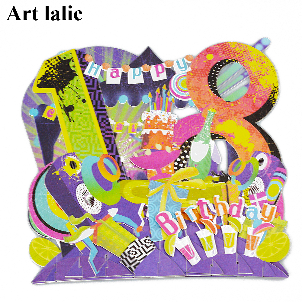 Aliexpress Buy Happy 18th Birthday 3d Paper Laser Cut Pop Up Handmade Post Cards Custom Gift Greeting Cards Souvenirs Party Supplies Cd087 From
