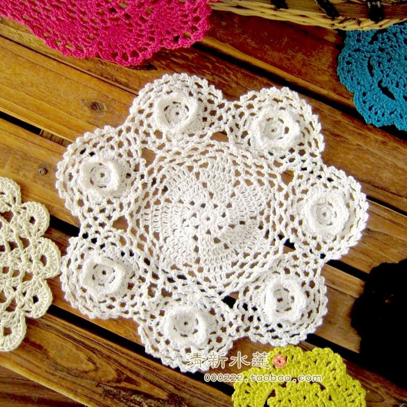 9 handmade crochet stereo flower round doilies vintage 3d wedding party table decoration cotton pad placemat beigewhite