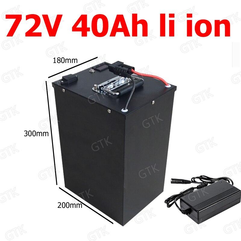 GTK-batería de iones de litio resistente al agua, 72v, 40Ah, BMS para bicicleta de 4000w, 3500w, triciclo, scooter, carretilla elevadora + cargador de 10A
