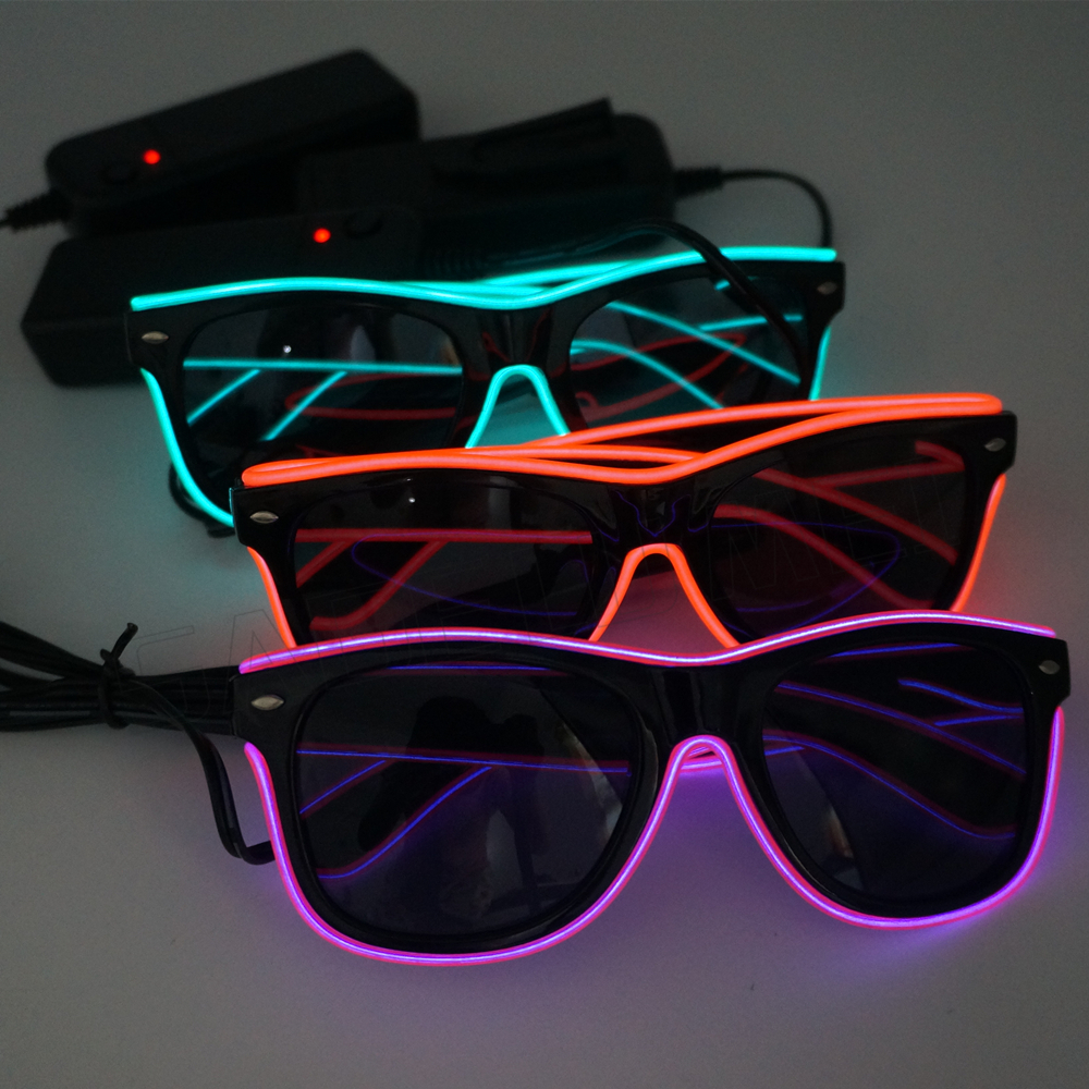 EL glasses EL Wire Fashion Neon LED Light Up Shutter Shaped Glow Rave Costume Party DJ Bright SunGlasses Classic Gift Free ship new arrival colorful neon led bulbs melbourne shuffle dance costume night lamp el wire bright ghost step suit for concert party