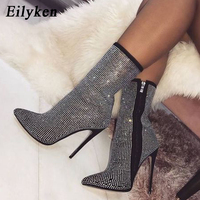 Eilyken 2018 New Design Crystal Flock Women Boots Pointed Toe High Heels Stretch Autumn Ankle Boots Mujer Black Apricot size 42