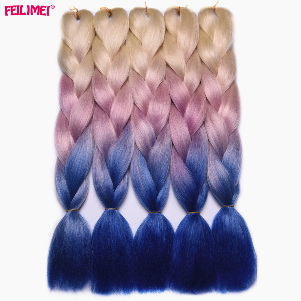 Feilimei Three Tone Colored Crochet Hair Extensions Kanekalon Hair Synthetic Crochet Braids Ombre Jumbo Braiding Hair Extensions