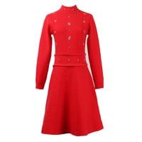 Italian romantic diamond beading knit dress female winte autumn stretch knit warm hollow cut front and behind wear dress wq2295