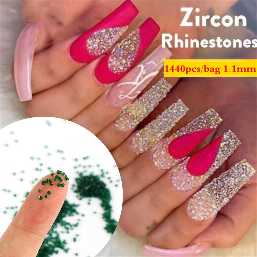 Kristal 1.1mm 1440 adet kristal tırnak suni elmas cam mikro Rhinestone 3D Nail Art DIY süslemeleri manikür araçları tırnak dekor