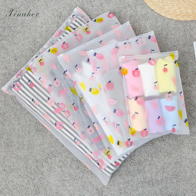 fruit pattern Clear Plastic Storage Bag Ziplock Travel Bags Zip Lock Valve Slide Seal Packing Pouch For Cosmetic Clothing
