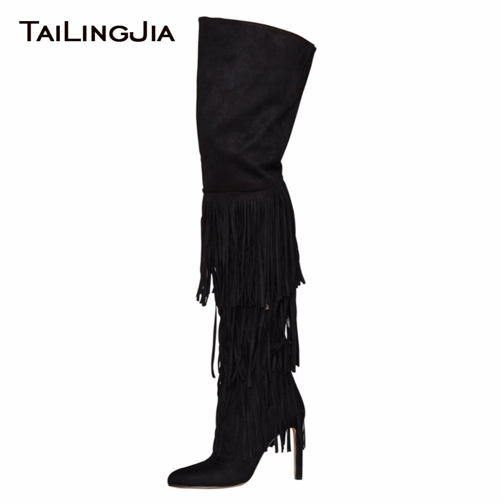Tasseled Black High Quality Faux Suede Handmade Over Knee Woman Boots Pointed Toe Female Long Boots Women Winter Keep Warm BootsTasseled Black High Quality Faux Suede Handmade Over Knee Woman Boots Pointed Toe Female Long Boots Women Winter Keep Warm Boots