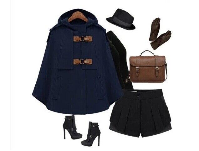 Британский бренд, пончо,, Осень-зима, коричневый, темно-синий, кашемировый, с капюшоном, пальто, женская накидка, Casacos Femininos manteau femme - Цвет: Navy