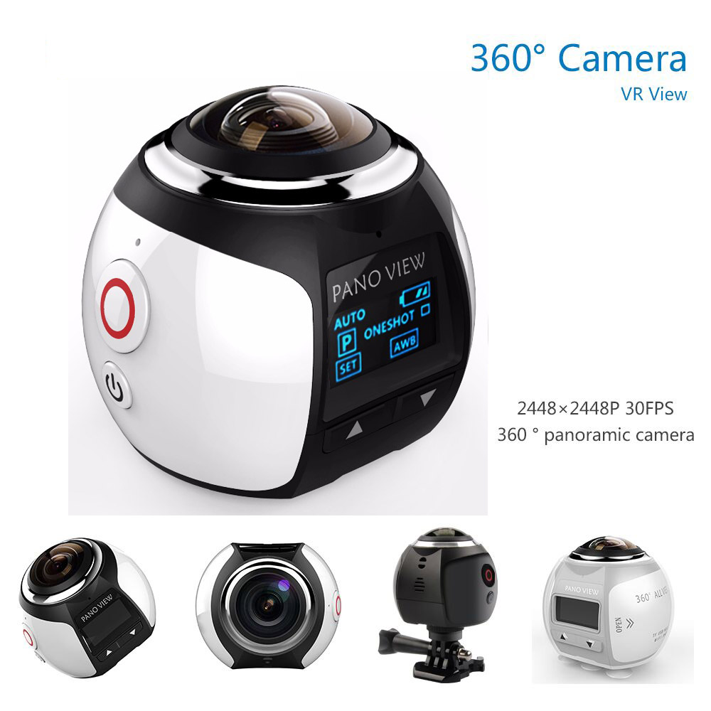 360 Video Camera Wifi Mini 360 Action Camera 2448*2448 Ultra HD Panorama Camera 360 Degree 220*360 Sport Driving Action Camera