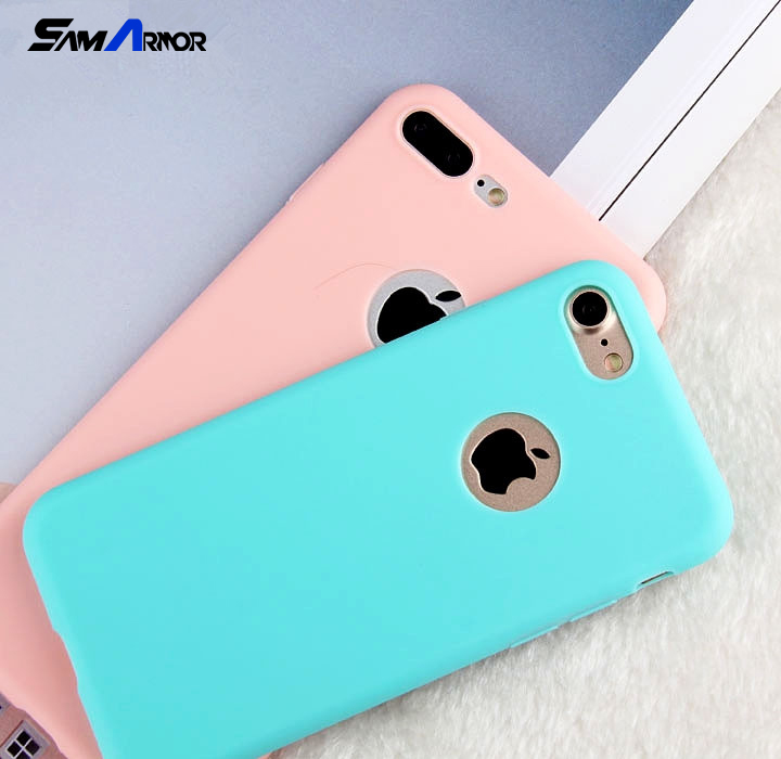 Candy Soft TPU Silicon Phone Cases Coque With Logo Window Accessories for iPhone X 8 5 5S SE 6 6S 7 Plus Fundas Luxury Coque