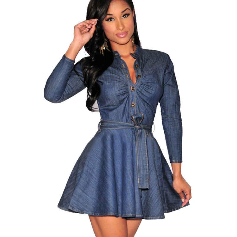 Mujer Denim vestido de camisa de manga larga Jersey Cocktail Clubwear con cuello en V y manga larga de Mini vestido