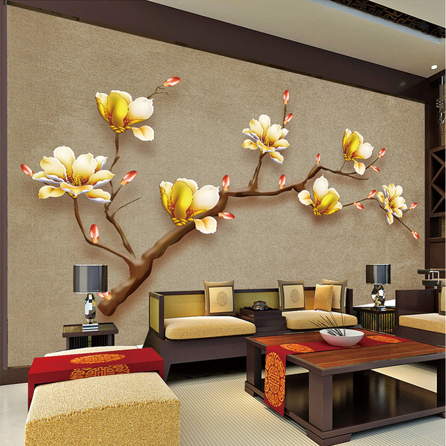 Customize Mural Wallpaper Designs Chinese Style Retro Painting Golden Magnolia Wall Living Room