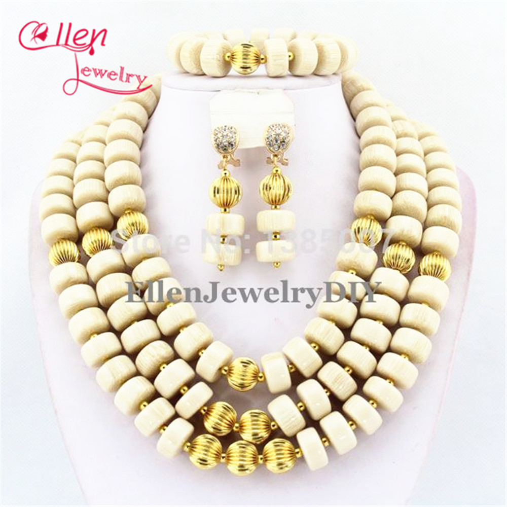 White African Nigerian Wedding Beads Coral Jewelry Sets,African Beads Coral Necklace Bracelet Earrings Sets   TL1704White African Nigerian Wedding Beads Coral Jewelry Sets,African Beads Coral Necklace Bracelet Earrings Sets   TL1704
