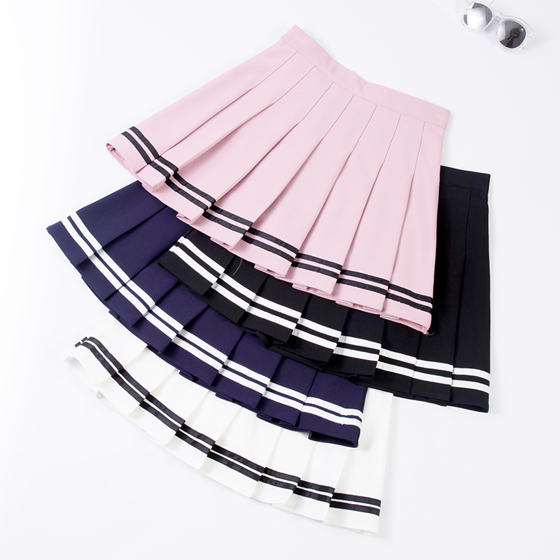 XS-XXL High Waist A-Line Women Skirt Striped Stitching Sailor Pleated Skirt Elastic Waist Sweet Girls Dance Skirt Plaid Skirt