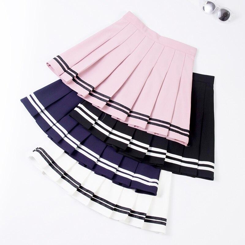 XS-XXL High Waist A-Line Women Skirt Striped Stitching Sailor Pleated Skirt Elastic Waist Sweet Girls Dance Skirt Plaid Skirt