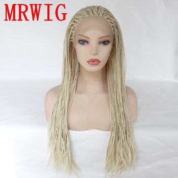 MRWIG #613 26in Braided Bx Braids Wig Synthetic Lace Front Wig Glueless Heat Resistant Fiber Free Part
