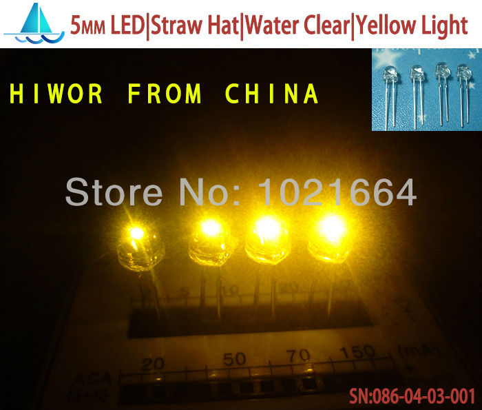 Yellow Emitting Color 5mm Led,straw Hat Super Bright,water Clear 200pcs/lot Light Emitting Diode F5mm 100% Guarantee led|straw Hat 5mm