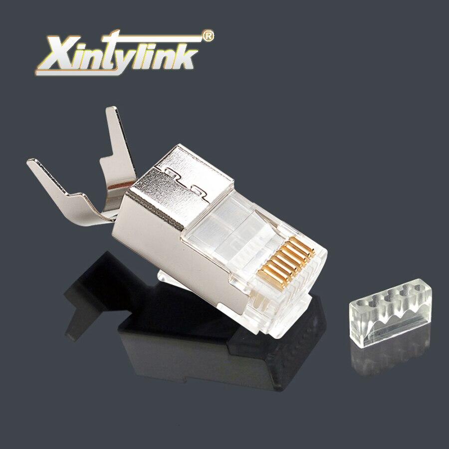 Xintylink RJ45 разъем rj45 разъем cat7 cat6a сетевой разъем нагрузки бар мужской 8P8C STP металла позолоченные экранированные высокого качества