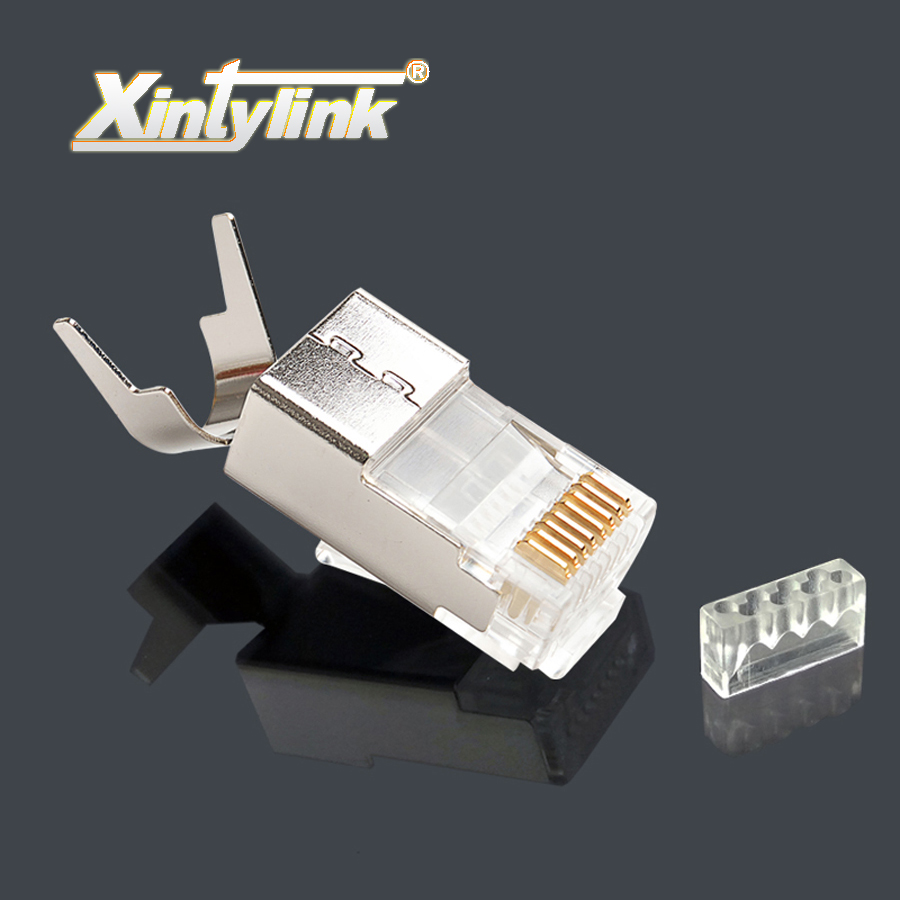 xintylink ethernet cable connector rj45 plug cat7 cat6a network load bar male 8P8C stp metal gold plated shielded 50u 1.5mm rj45 8p8c male to male high speed cat6a flat lan network cable purple 1485cm